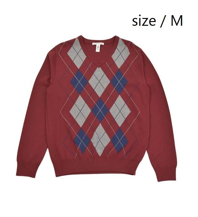【ふるさと納税】 メンズ セーター ( ワイン / サイズM ) Vネック プルオーバー ニット アーガイル柄