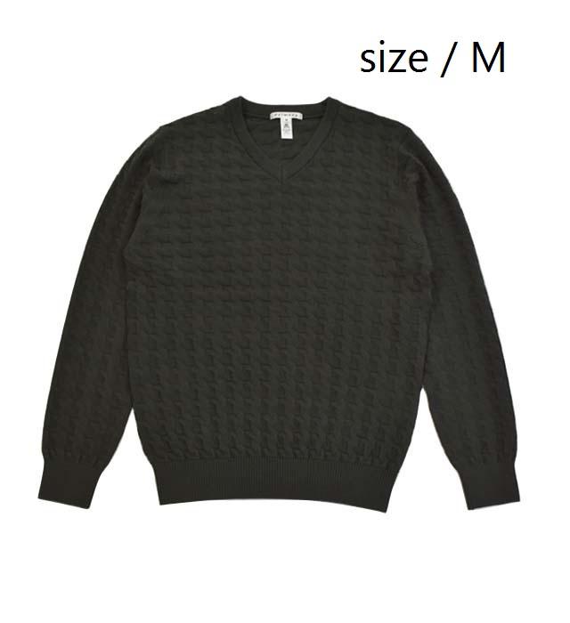 【ふるさと納税】 メンズ セーター ( カーキ / サイズM ) Vネック プルオーバー ニット リンクス 千鳥柄