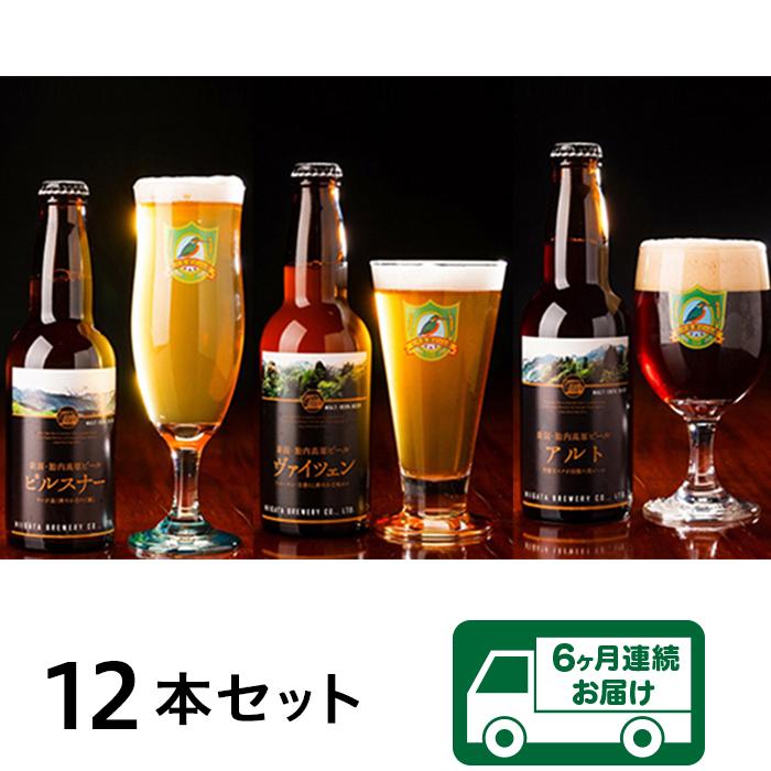【ふるさと納税】定期便 ビール 0166 【6ヶ月連続お届け】胎内高原ビール 12本セット