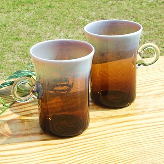 【ふるさと納税】Hotto-G 耐熱燿変ガラス 焼酎カップペア(アンバー) グラス コップ 贈答 ギフト 酒
