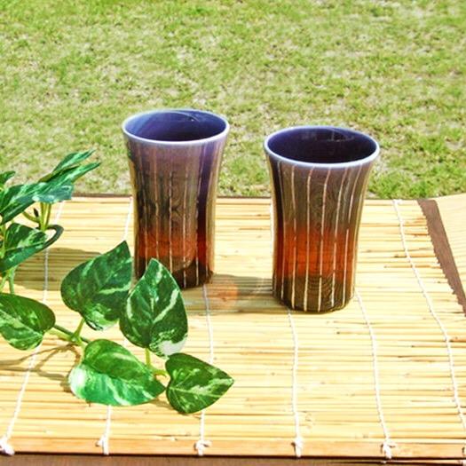 【ふるさと納税】Hotto-G 耐熱燿変ガラス 一口ビールペア(パープル) グラス コップ 贈答 ギフト