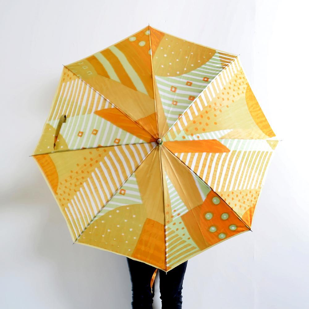 【ふるさと納税】高級晴雨兼用傘「マルサンカクシカク」(オレンジ)