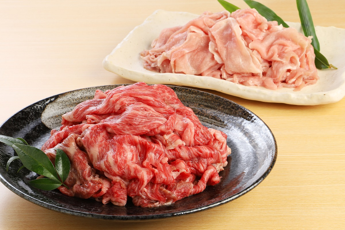 【ふるさと納税】 熟成肉牛・豚切落し詰め合わせ1.0キログラム送料無料