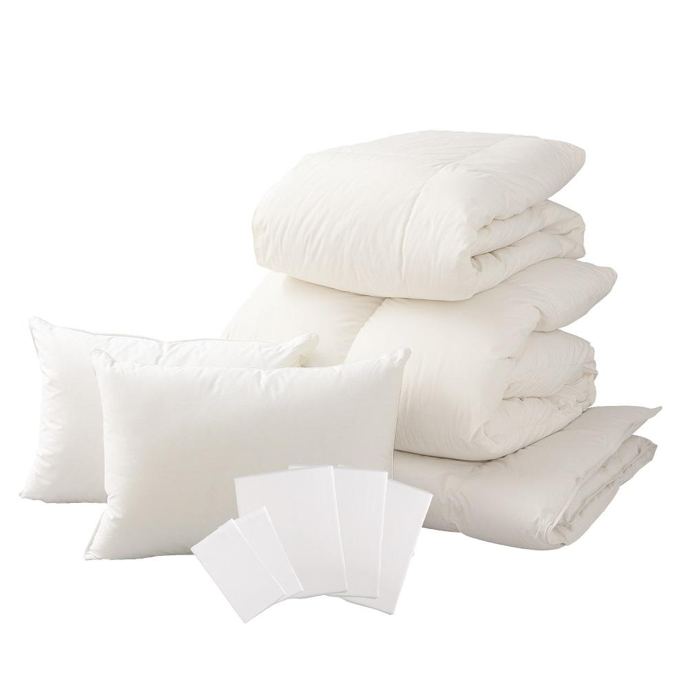 【ふるさと納税】【甲州羽毛ふとん】ベッド用寝具ダブル10点パーフェクトセット 送料無料