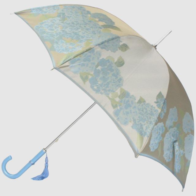 【ふるさと納税】【槙田商店】晴雨兼用長傘 絵おり 紫陽花 ベージュ