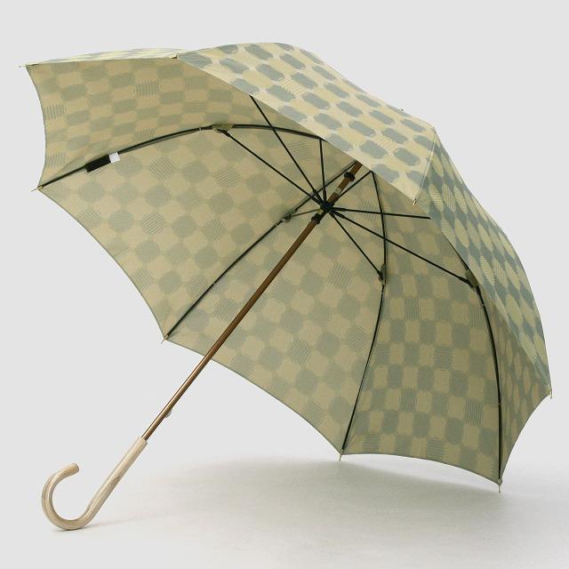 【ふるさと納税】婦人長傘ノルディックジャガードドットコラージュ柄グリーン