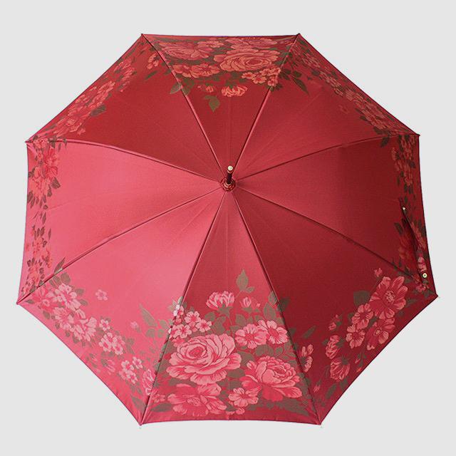 【ふるさと納税】晴雨兼用長傘 絵おり 大バラ エンジ|送料無料 槙田商店 傘 雨傘 おしゃれ レディース 贈答 プレゼント ギフト 母の日 誕生日 日本製 女性 長傘 晴雨兼用 ブランド 高品質 婦人用 日傘 UV加工