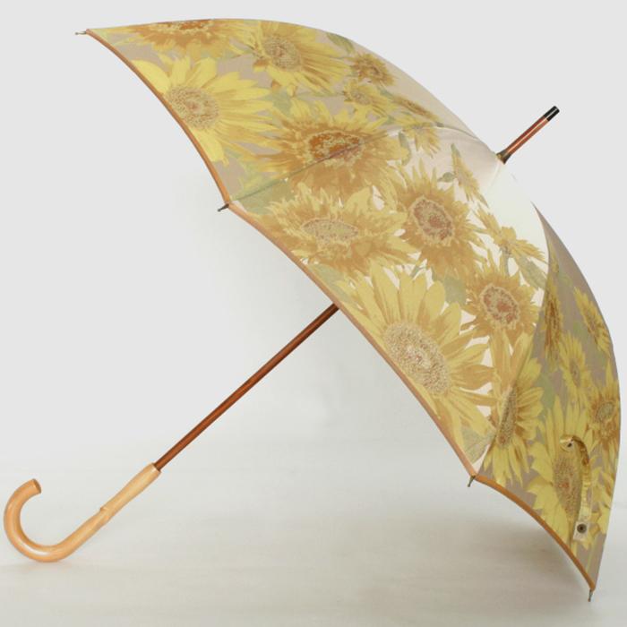 【ふるさと納税】【槙田商店】晴雨兼用長傘 絵おり 向日葵 ベージュ