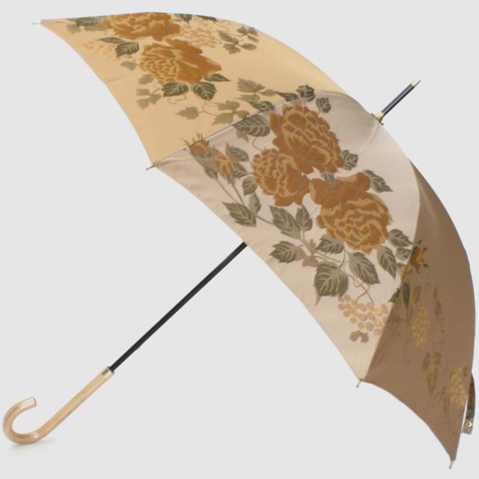 【ふるさと納税】【槙田商店】晴雨兼用長傘 絵おり バラとぶどう ベージュ