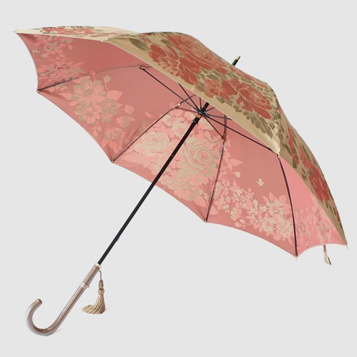 【ふるさと納税】【槙田商店】晴雨兼用長傘 絵おり 大バラ ベージュ