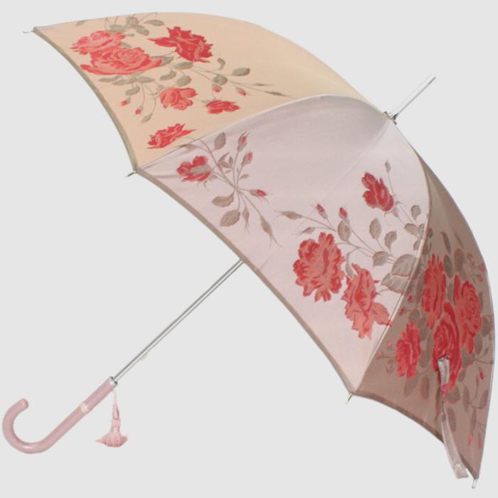 【ふるさと納税】【槙田商店】晴雨兼用長傘 絵おり 薔薇(ばら)ベージュ