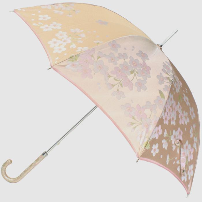 【ふるさと納税】【槙田商店】晴雨兼用長傘 絵おり 桜 ベージュ