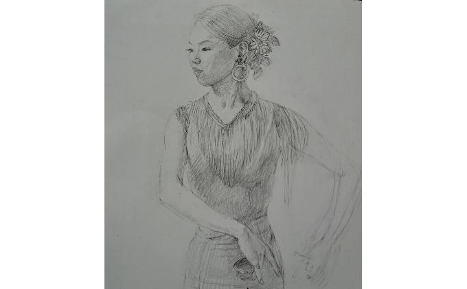【ふるさと納税】大切な人に イラスト 肖像画 モノクロ 送料無料