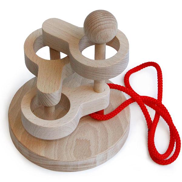【ふるさと納税】016-023中級者用知恵の輪 木のおもちゃ「立体知恵の輪3段」