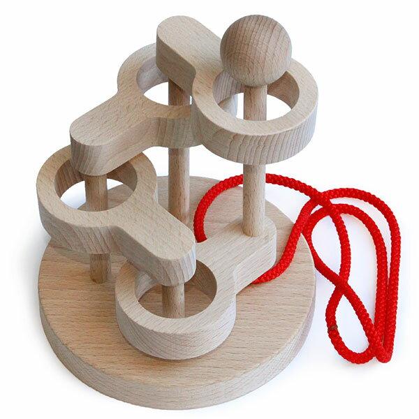 【ふるさと納税】018-013上級者用知恵の輪 木のおもちゃ「立体知恵の輪4段」