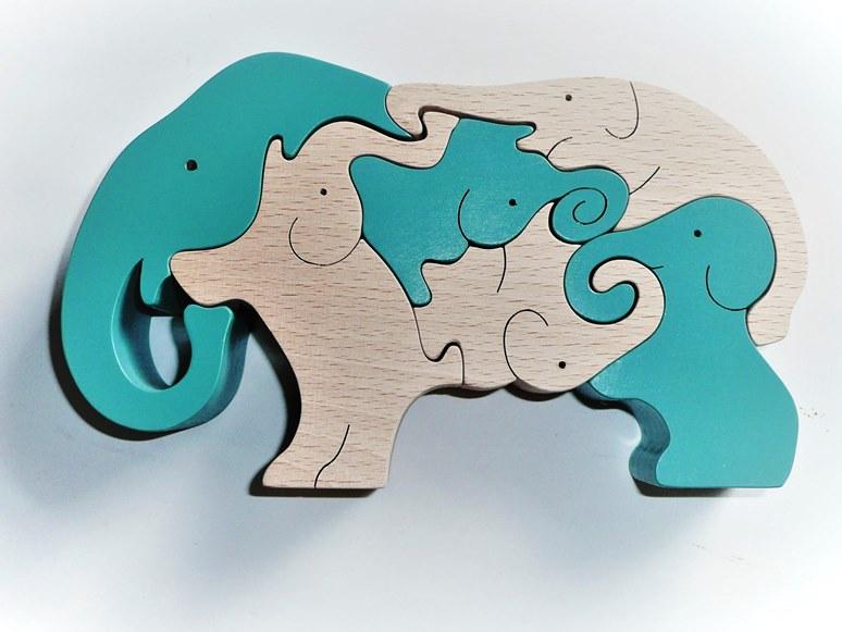 【ふるさと納税】020-016木のおもちゃ「象のスタンディングパズル」
