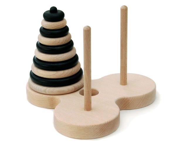 【ふるさと納税】025-002頭と指を使う木のおもちゃ「ハノイの塔10段ゼブラ」
