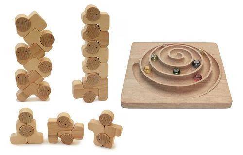 【ふるさと納税】030-002バランス感覚を養う木のおもちゃ「ベビーブロック+立体うずまき」