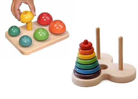 【ふるさと納税】055-003頭と指先の発達に木のおもちゃ「ハノイの塔+きのこのこのこ」