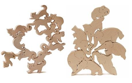 【ふるさと納税】080-001人気沸騰おもしろ積み木「ネコの自由積み木+象のサーカス」