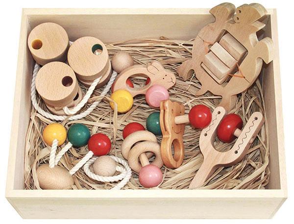 【ふるさと納税】080-003赤ちゃんのための木のおもちゃセット「赤ちゃんおもちゃCセット(桐材の木箱)