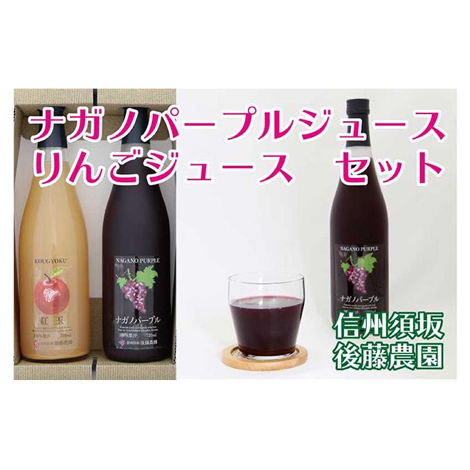 【ふるさと納税】【後藤農園直送】「ナガノパープルジュース」&「林檎ジュース」セット 【果実飲料・ジュース・飲料類・果汁飲料・りんご・りんごジュース・リンゴ・林檎・ぶどうジュース・葡萄・ブドウ・詰め合わせ】
