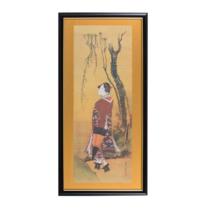 ふるさと納税 流行のアイテム 葛飾北斎 柳下傘持美人 額絵 送料無料激安祭
