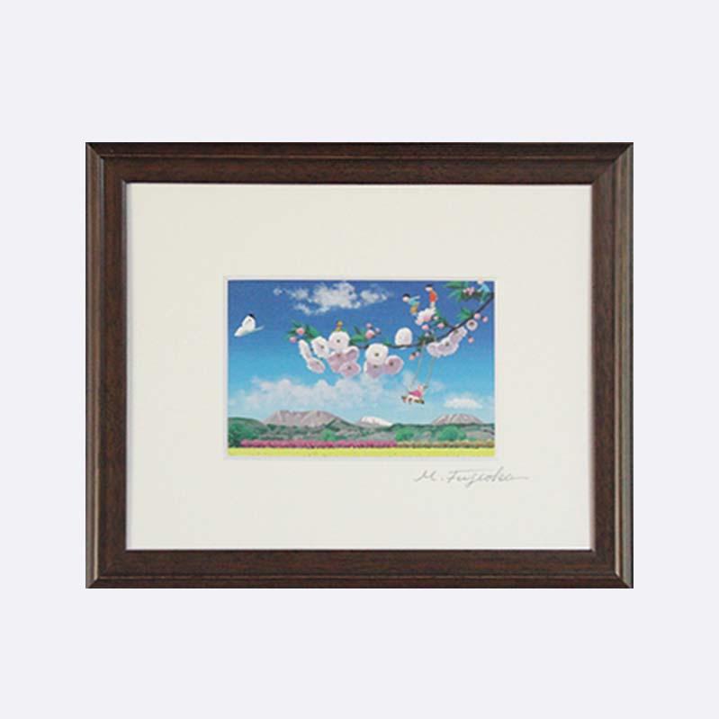 【ふるさと納税】藤岡牧夫 絵葉書額装「小布施の八重桜」