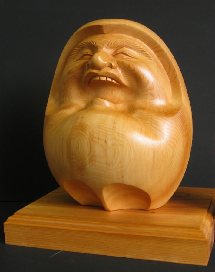 【ふるさと納税】飛騨一位一刀彫 福だるま(大) 飛騨高山 伝統工芸品 f132