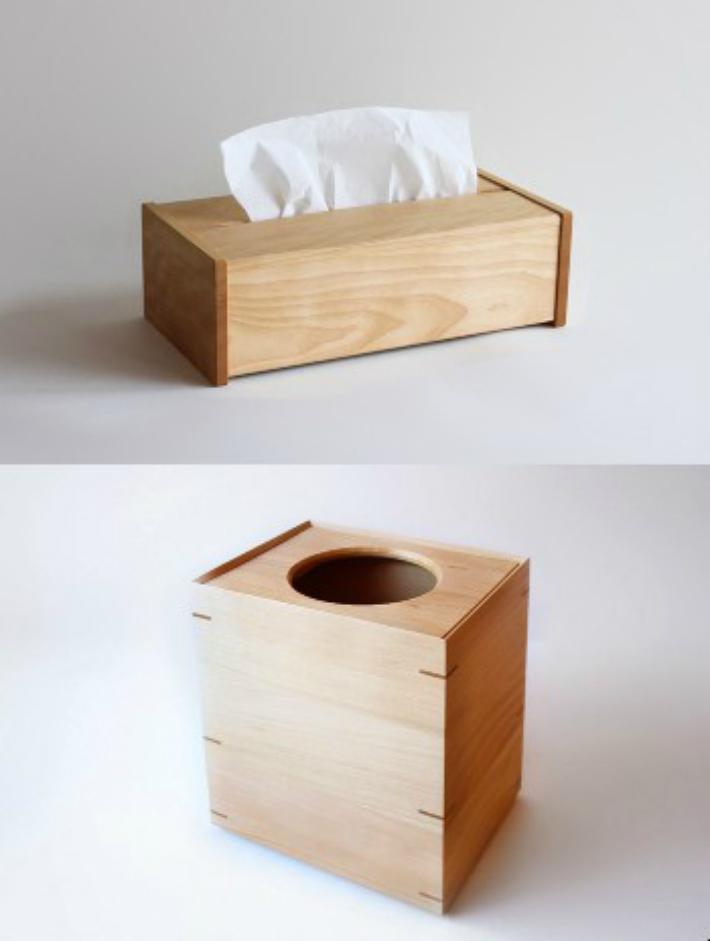 【ふるさと納税】【オークヴィレッジ】ティッシュボックス&ダストボックス〔国産材 木製インテリア]木製 雑貨 e114
