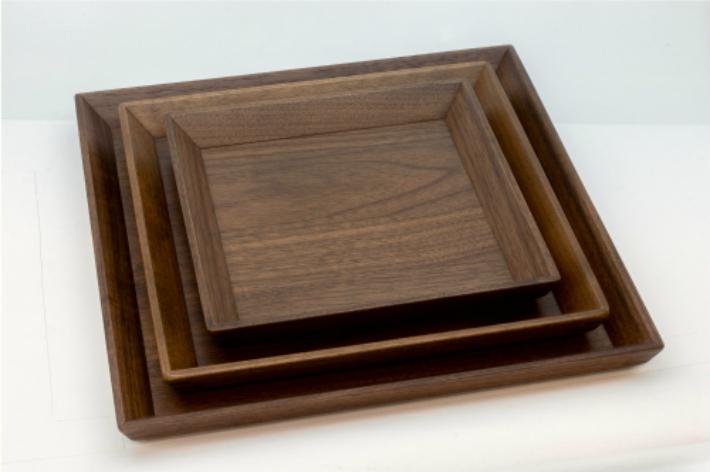 【ふるさと納税】Takumi Craft 木のトレー(正方形)3枚セット e131