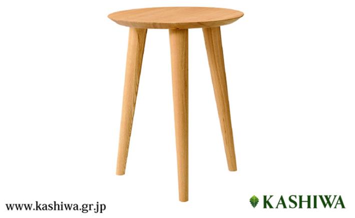 【ふるさと納税】【KASHIWA】サイドテーブル 飛騨の家具 オーク材 無垢材 f115