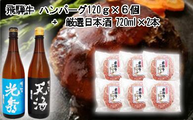 【ふるさと納税】6-7 飛騨牛 ハンバーグ120g×6個入り + 厳選日本酒720ml×2本