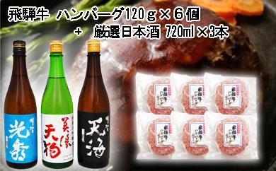 【ふるさと納税】7-7 飛騨牛 ハンバーグ120g×6個入り + 厳選日本酒720ml×3本