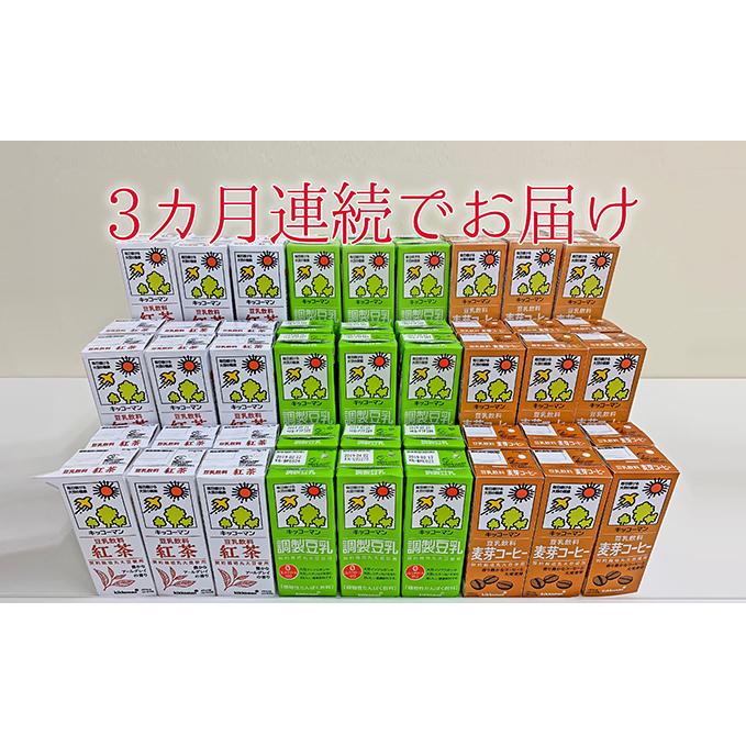 【ふるさと納税】キッコーマン 定番商品3種類各1ケースのセット3ヶ月連続配送 【定期便・飲料・豆乳】