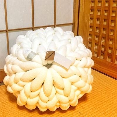 【ふるさと納税】Cloudy Hand Knit Cushion Sサイズ オフホワイト【1109184】