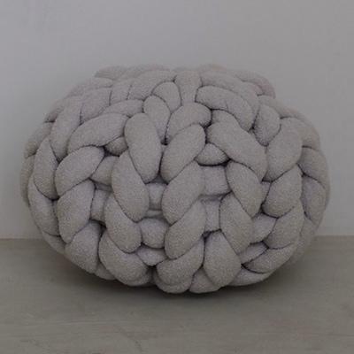 【ふるさと納税】Cloudy Hand Knit Cushion Sサイズ グレー【1109185】
