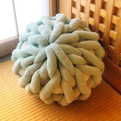【ふるさと納税】Cloudy Hand Knit Cushion Sサイズ グリーン【1109187】