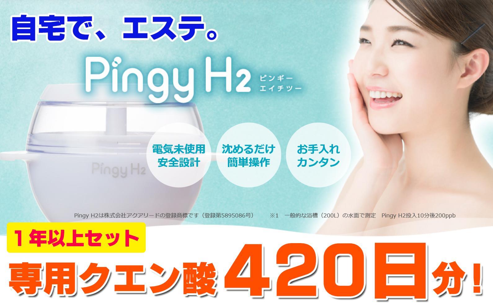 【ふるさと納税】家庭で気軽に!電気を使わない水素風呂入浴器 Pingy H2 専用クエン酸が420日分!
