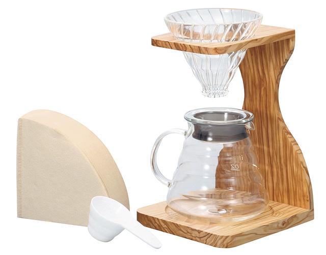 【ふるさと納税】ハリオV60オリーブウッドスタンドセット(コーヒーサーバー)