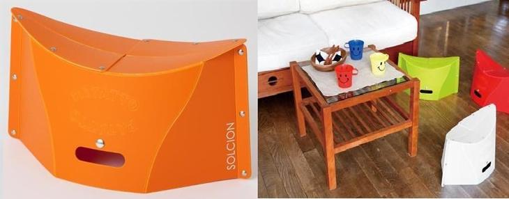 【ふるさと納税】折りたたみイスPATATTO×4脚(オレンジ)