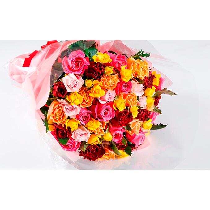 【ふるさと納税】バラの花束 ミックス50本【配送不可:離島】 【植物】
