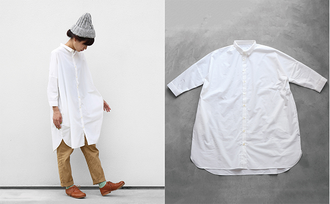 【ふるさと納税】HUIS遠州織物コットンロングシャツ 【ファッション・長袖・シャツ】
