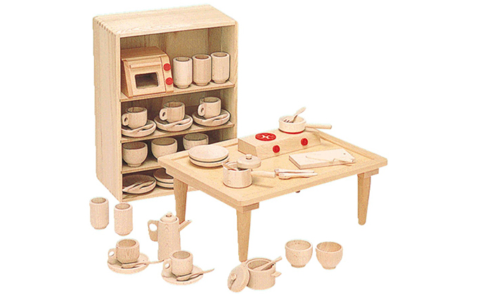 【ふるさと納税】木製知育玩具 抗菌ままごとあそびテーブルセット8011 【玩具・おもちゃ】