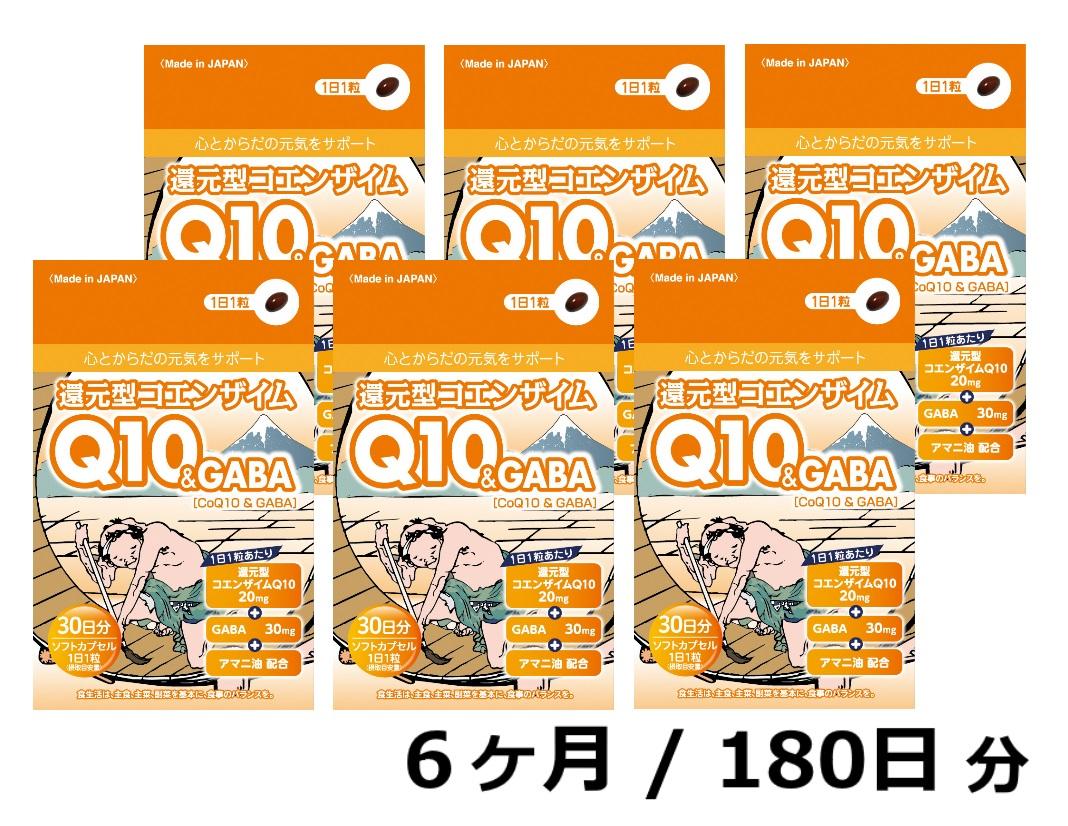 【ふるさと納税】還元型コエンザイムQ10&GABA(1袋30粒)6か月パック 180日分 健康食品 サプリメント 加工食品 静岡県富士宮市