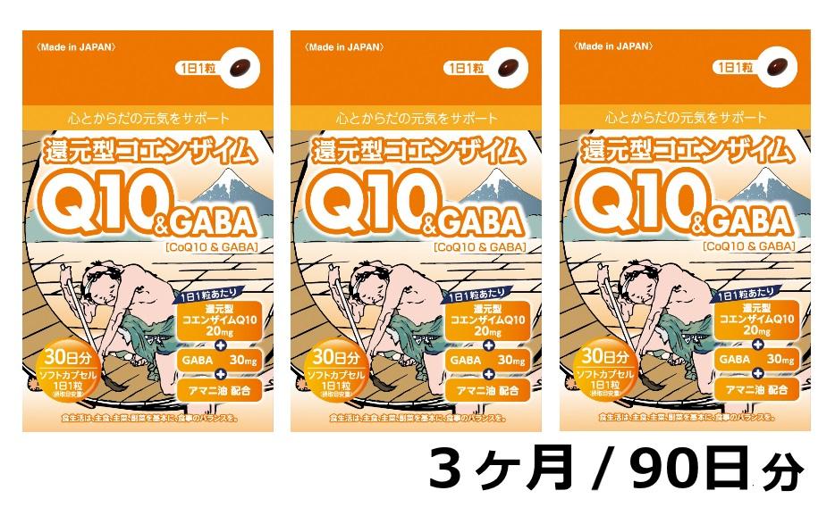 【ふるさと納税】還元型コエンザイムQ10&GABA(1袋30粒)3か月パック 90日分 健康食品 サプリメント 加工食品 静岡県富士宮市