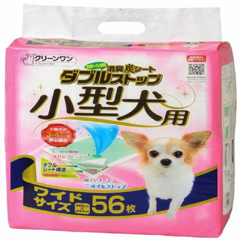 【ふるさと納税】1294クリーンワン消臭炭シートダブルストップ小型犬用ワイド56P×4