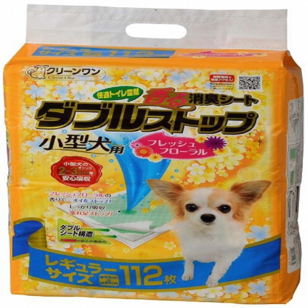 【ふるさと納税】1295クリーンワン香る消臭シートダブルストップ小型犬用フレッシュフローラルの香りレギュラー112P×4