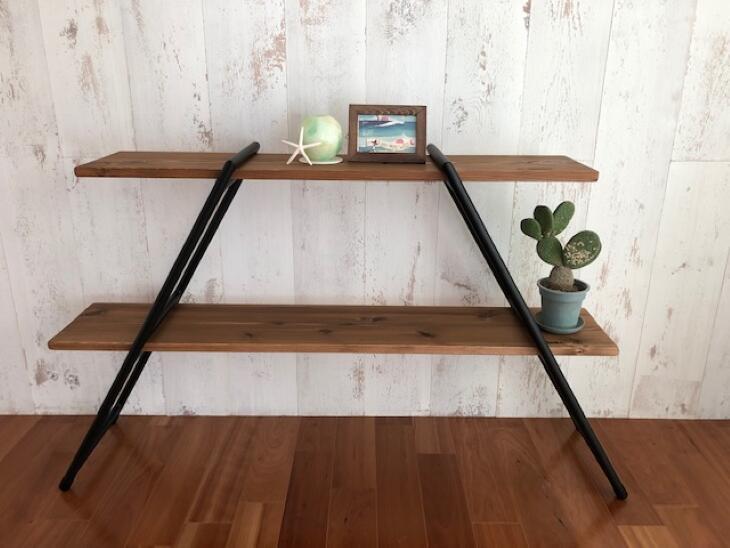 【ふるさと納税】掛川市産「認証材」で作った組み立て2段式棚『アイアンシルフ』ロングタイプ×1セット