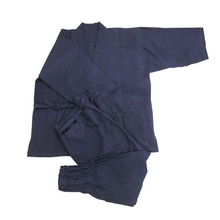 【ふるさと納税】天然にこだわった自慢の逸品 【みくりや染織】正藍染手織り木綿作務衣上下一式(上下無地)